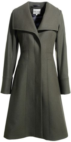 """Reiss """"Angel"""" Fit and Flare Coat in Military Grey - $364"""