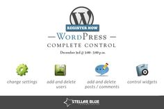 Do you want to take complete control over your WordPress website? Another WordPress workshop is coming! Join us December 3rd from 3-5pm for our hands-on WordPress workshop! http://stellarbluetechnologies.com/event/wordpress-complete-control-5/?pk_campaign=WP123PI30&pk_kwd=