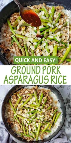 Ground Pork Asparagus and Rice is a quick and easy any night of the week dinner. With a simple oyster sauce this Asian style stir fry is a great recipe to try! #groundporkrecipes #easydinnerrecipes #porkrecipes @sweetcaramelsunday Easy Dinner Recipes, Great Recipes, Easy Home Recipes, Most Popular Recipes, Healthy Breakfast Recipes, Light Recipes, Dessert Recipes, Healthy Recipes, Pork Recipes