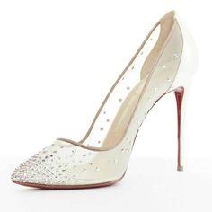 Wedding Shoes Louboutin, Christian Louboutin Heels, Wedding High Heels, Wedding Shoes Bride, Wedding Dresses, Bling Heels, Designer Wedding Shoes, Pearl Bridal, Ideas