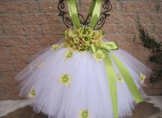 GREEN FLOWERS. Tutu Dress. Birthday Tutu Dress. by ElsaSieron