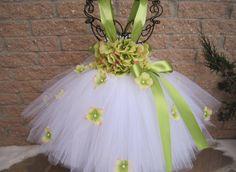 WHITE GREEN FLOWERS. Tutu Dress.  Birthday Tutu by ElsaSieron