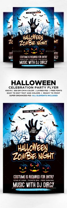 Goosebumps Music Party Flyer Template PSD, AI Illustrator - zombie flyer template