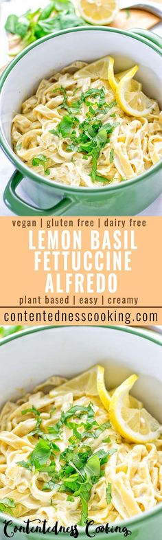 This Lemon Basil Fettuccine Alfredo is simply what pasta dreams are made of. Entirely, vegan, gluten free, and so incredibly satisfying. Try it now for a perfect lunch or dinner. Super handy also to prepare in advance and take along as work meal. #vegan #glutenfree #contentednesscooking #plantbased #dairyfree #pasta #alfredo #lemon #lunch #dinner #mealprep #veganrecipes #veganfood #italianfood