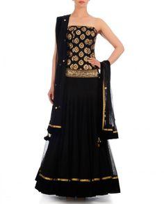 Black color lehenga with brocade choli – Panache Haute Couture
