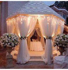 Romantic & impressive entrance to a marquee wedding