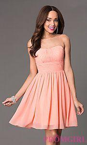 Buy Short Sleeveless Dress with Sheer Neckline at PromGirl