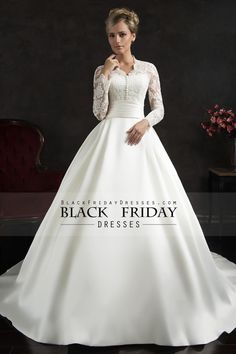 2016 Satin Full Sleeves A Line With Applique And Ruffles Wedding Dresses Court Train