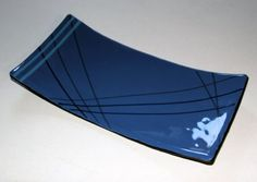 contemporary blue glass tray by kilnwork on Etsy, $46.00