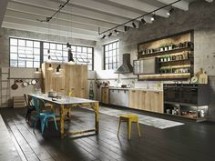 Urban Loft Design Contemporary 12 Industiral And Rustic LOFT Kitchen By Snaidero Industrial Kitchen Design, Rustic Industrial Decor, Industrial House, Industrial Interiors, Rustic Kitchen, Kitchen Decor, Industrial Apartment, Industrial Furniture, Urban Industrial