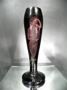 1890 1900 Muller Croismare Vase en Pâte de Verre Gravé ART Nouveau