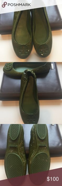 Tory Burch Green Patent Leather Ballet Flats