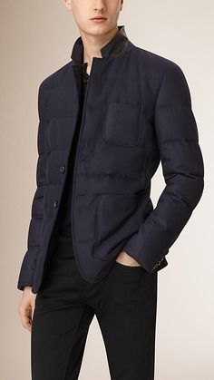 Burberry Navy Down-Filled Wool Cashmere Blazer - A wool and cashmere quilted blazer cut for a sharp sartorial fit. Lightly padded with insulating down, the warm single-breasted design features utility pockets and a leather undercollar with an embossed check pattern. Discover the men's outerwear collection at Burberry.com