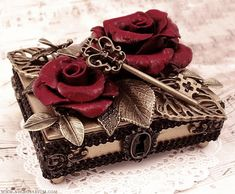Antique Key Box with Roses