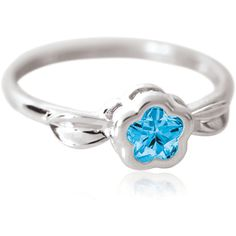 Sterling Silver BFlower Leaf Ring for Girls in Blue from www.thejewelryvine.com