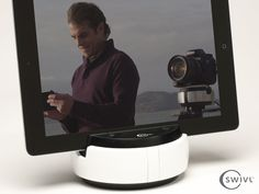 Swivl: Multipurpose robotic platform for mobile and DSLR by Satarii, via Kickstarter.  http://www.kickstarter.com/projects/satarii/swivl-multipurpose-motion-platform-for-mobile-and#
