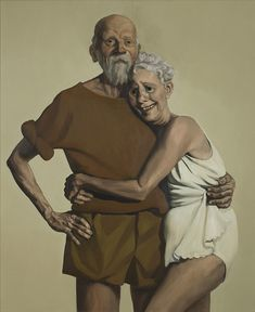 """John Currin, """"Old Couple,"""" 1993, oil on canvas, 46 1/4 x 38 1/4 in (117.48 x 97.16 cm) The Broad Art Foundation 