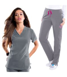 Want the whole package? This Smitten Scrub Set is the way to go! - Smitten Women's Scrub Set - Color featured here: Steel Grey - Miracle Fabric: 87% Polyester, 13% Spandex #Scrubs #Smitten_Scrubs | allheart.com