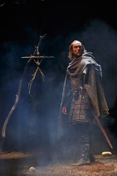 """A drum, a drum! Macbeth doth come."" First glimpse of the terrifying #sfMacbeth on stage! Click for more photos."