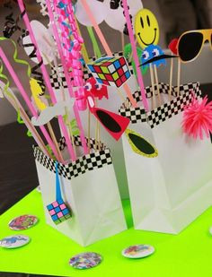 Photobooth props for an eighties party 80s Birthday Parties, 80th Birthday, Birthday Party Themes, Birthday Ideas, Themed Parties, 80s Party Decorations, Party Centerpieces, Table Decorations, Wedding Decorations