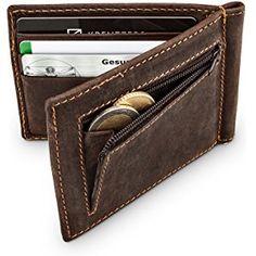 Premium Geldklammer mit Münzfach I Kreditkartenetui aus echtem Leder I Vintage Look I RFID Blocker I Kartenetui mit Geldklammer + Kleingeldfach I Kartenhalter für 6 Karten (Braun)