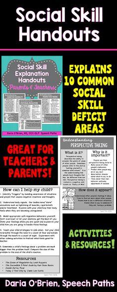 Social Skill Explanation Handouts - Speech Paths