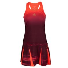 The adidas Women's Adizero Tennis Dress sports seasonal print & fitted top/torso with wider A-line bottom that accentuates the woman's body!