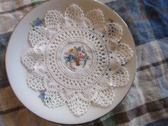 Vintage Embroidered Doily Petite point by CottageChicCoqueto