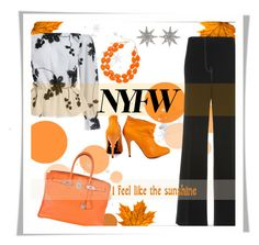 """""""NYF"""" by sisilem ❤ liked on Polyvore featuring Hermès, MRZ, Betsey Johnson, Mixit, Bee Goddess and NYFW"""
