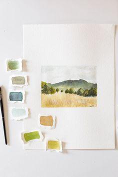 Watercolor Books, Watercolor Sketchbook, Watercolor Drawing, Art Sketchbook, Watercolor Illustration, Watercolor Artists, Watercolor Landscape Tutorial, Watercolor Landscape Paintings, Abstract Paintings