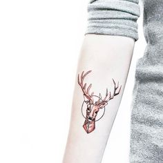 Geometric Deer on Inner Forearm by HanZ