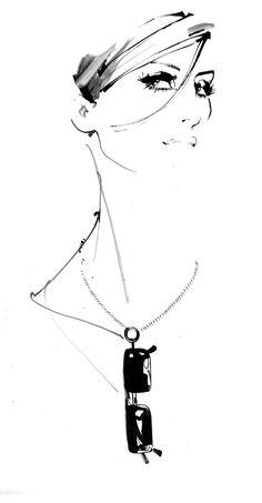 La LOOP sunglasses accessories available at sunglasscurator.com, drawn by David Downton