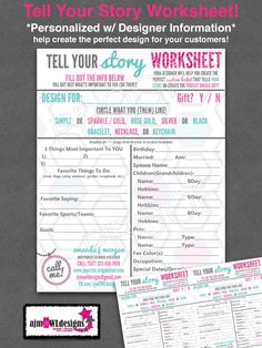 Tell Your Story Worksheet: Use this to help create your customer's perfect living locket or help them design a unique and meaningful gift!  – Design Your Living Locket - w/ Designer Info – Origami Owl Inspired by ajmOWLdesigns on Etsy