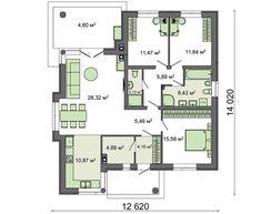 Современный одноэтажный дом с крытой верандой E 10, My House, Floor Plans, Houses, Homes, House, Computer Case, Floor Plan Drawing, Home
