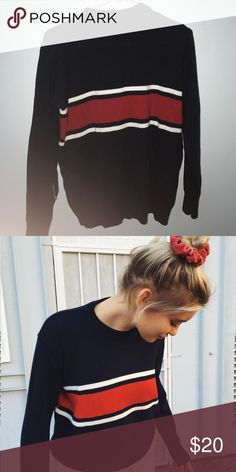Brandy Melville Oversized Striped Sweater Navy sweater with red and white middle stripes. Has never been worn. Washed once. Please consider that Brandy Melville is one size only. This sweater is looser, so it may fit you even if you normally can't wear Brandy Melville. Brandy Melville Sweaters Crew & Scoop Necks