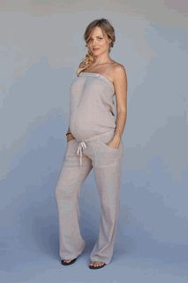 Maternity Gauze Jumper Suit in Mushroom