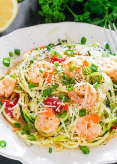 Shrimp Scampi Zoodles | This would make such a great summer dinner recipe.
