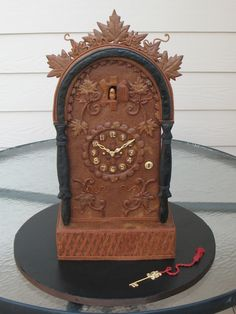 The gingerbread clock is made entirely out of gingerbread. It won First Place and Best in Division at the 2011 Great American Cake Show in Westminster, MD. It took about 12 hours from start to finish.