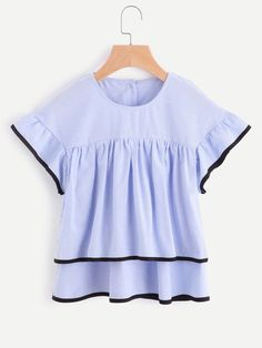 Shop Contrast Trim Layered Button Back Top online. SheIn offers Contrast Trim Layered Button Back Top & more to fit your fashionable needs.