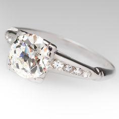1920s Antique 1.4 Carat Old Euro Diamond Ring Platinum