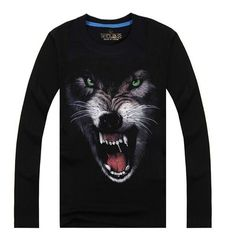 bfc9b18e9c5a wolf t shirt for teens long sleeve glow in the dark