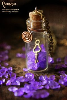 Magic key vial pendant by LuthienSecrets Do with Amethyst chips?
