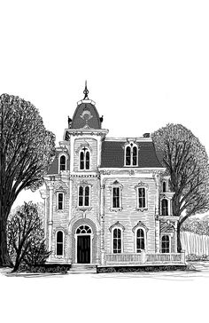 Ballpoint Pen Drawing, Ink Pen Drawings, Easy Drawings, Drawing Architecture, Digital Ink, House Illustration, House Drawing, Artwork Online, Victorian House