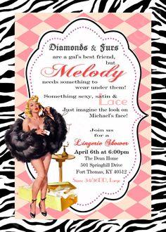 Vintage, Retro, Pin Up, Lingerie Shower Invitation 5x7- Pink Diamond/Black Zebra, by BluegrassWhimsy $15.00