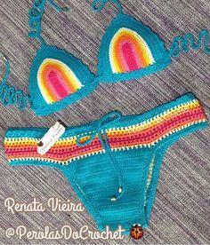* Pérolas do Crochet: Biquini em crochet Coloridinho