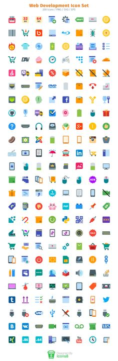 Web Development Icon Set - There are 200 beautiful icons in this icon set. The icons come in these file formats: PNG, SVG and EPS. Icons for GitHub and Stack Overflow, keyboards, computer monitors, mobile devices, I/O symbols and more are included in this versatile icon set.