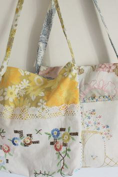 Bag vintage fabric yellow floral vintage embroidery