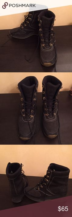 Timberland Black Heeled Combat Boots These boots are in great condition. They are a Suede type material but not exactly Suede as seen in the picture. They were only a couple of times. Timberland Shoes Combat & Moto Boots