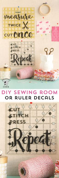 DIY Sewing and Quilting Decals for Quilt Rulers or to use as wall decor in a…