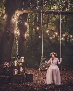 boho bride on a swing